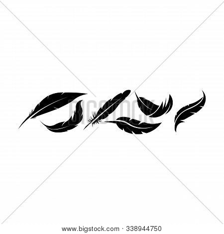 Set Of Writing Quill Feather Simple Silhouette Icon, Quill Black Vector Calligraphy Icon