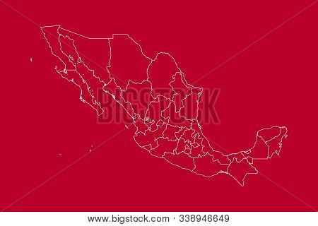 Modern Mexico Country Political Map With Boundaries Vector Illustration. Red, White Color.