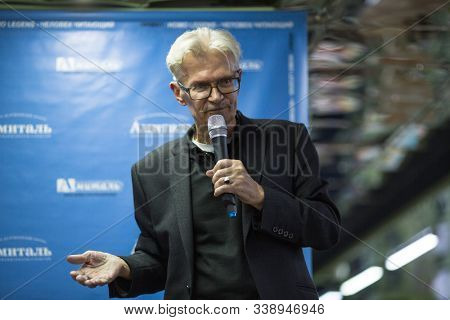 VORONEZH, RUSSIA - NOV 9, 2019: Eduard Limonov - Russian nationalist writer, politician, founder and former leader of the banned National Bolshevik Party, during an open meeting at Amital book club.