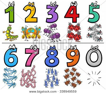 Cartoon Illustration Of Educational Numbers Collection From One To Nine With Funny Insects Animal Ch
