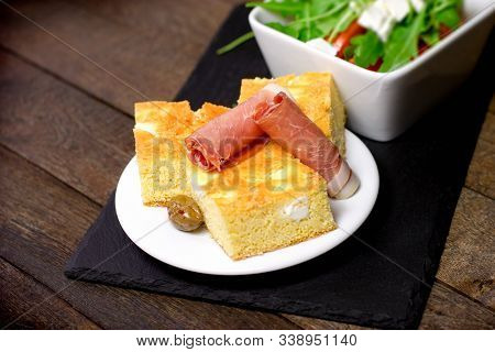 Cornbread Stuffing - Cornbread, Prosciutto And Salad, Healthy Meal On Plate On Rustic Table