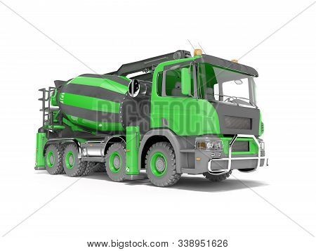 Green Truck Concrete Mixer With Conveyor Belt 3d Rendering On White Background With Shadow