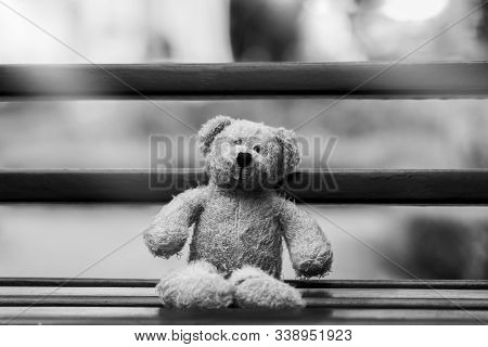 Black And White Photo Of Teddy Bear With Sad Face Sitting On Wooden Beance , Lonely Teddy Bear Sitti