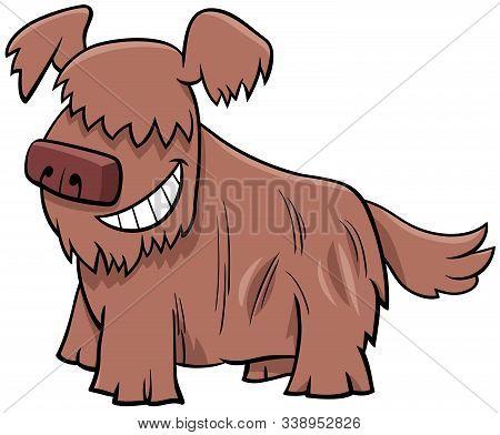 Cartoon Illustration Of Happy Shaggy Dog Or Puppy Comic Animal Character