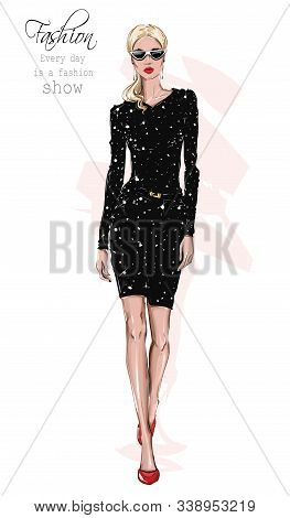 Hand Drawn Beautiful Woman In Shining Seguin Black Dress. Stylish Girl In Sunglasses. Fashion Woman