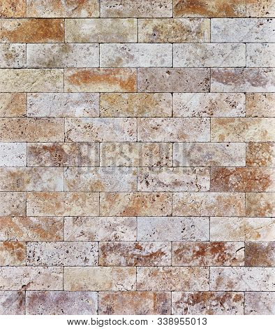 Travertine Stone, Beige And Brown Tiled Wall Texture, Masonry Background.