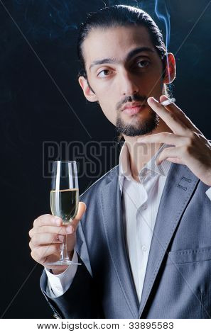 Man tasting wine in glass poster