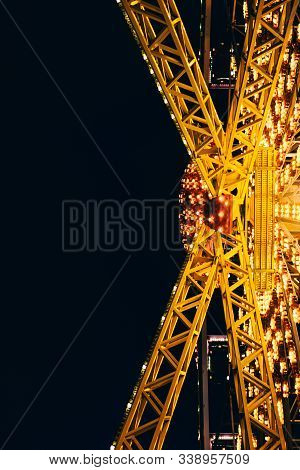 Close Up Of Ferris Wheel At Night Time In Odessa, Ukraine