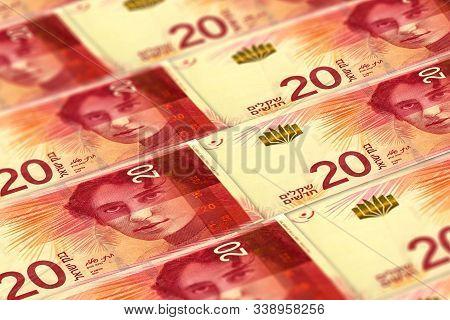 Israeli Shekels Background. 20 Shekels Pattern. Money Of Israel. Business Background