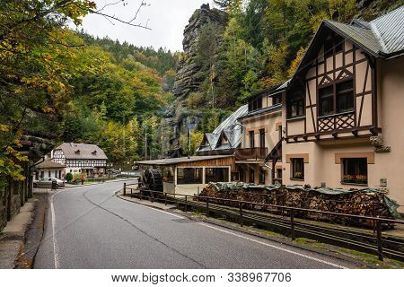 Hrensko, Czech Republic - October 10, 2019: A Small Village In The North-western Part Of The Histori