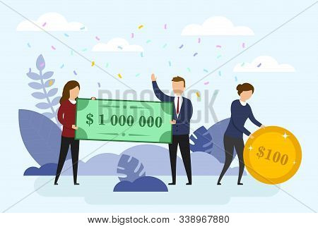 Happy Man And Woman Are Holding A Bank Cheque For A Million Dollars. A Woman Holds A Coin For 100 Do