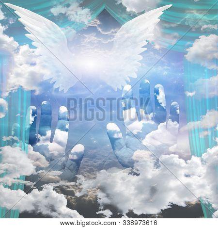 Angel Wings and Hands Reach Up Toward Heaven. 3D rendering