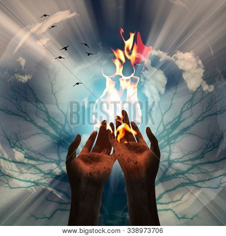 Spiritual composition. Creation of Fire. 3D rendering