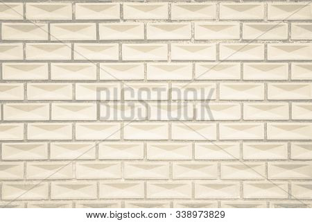 Cream and white wall texture background, brick stone pattern modern decor home and vintage stonework floor interior or design concrete old brickwork stack limestone seamless nature for copy space. Brick wall texture or brick wall background. brick wall fo poster