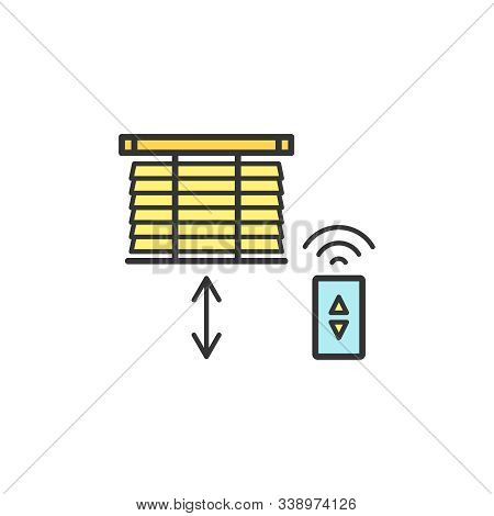 Motorized Blinds With With Remote Controller Thin Line Icons