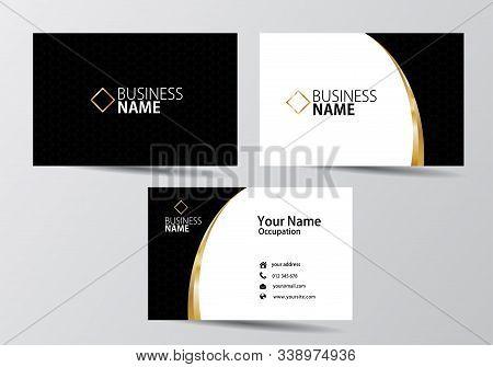 Golden Business Card. Visiting Card Template Vector