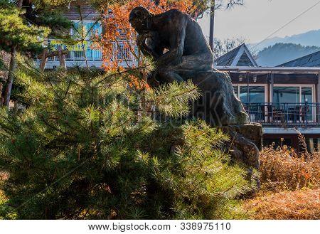The Thinker Sitting Behind Pine Tree.