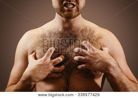 Male Concept Of Testosterone. A Man Holds His Hairy Chest Close-up