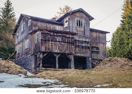 Desolate Wooden Mountain Hostel In Owl Mountains Landscape Park On The Slope Of Wielka Sowa Mountain