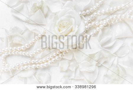 Beautiful White Rose And Pearl Necklace On A Background Of Petals. Ideal For Greeting Cards For Wedd