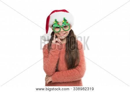 Small Santa White Background. Merry Christmas. Winter Brings A Lot Of Joy. Happy Child In Party Glas