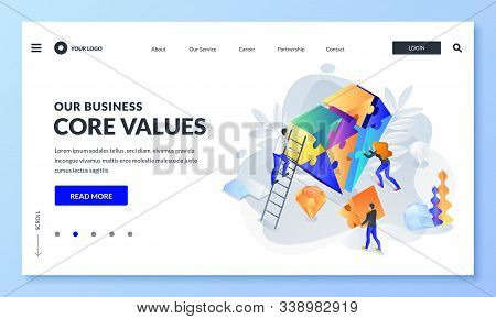 Business Core Value And Company Corporate Mission Concept. Vector 3d Isometric Illustration. People