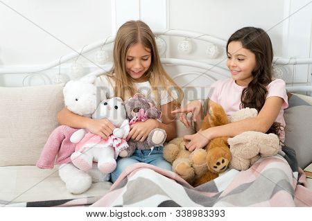 Best Friends Forever. Adorable Friends Play With Toys. Small Friends Enjoy Friendship. Little Friend