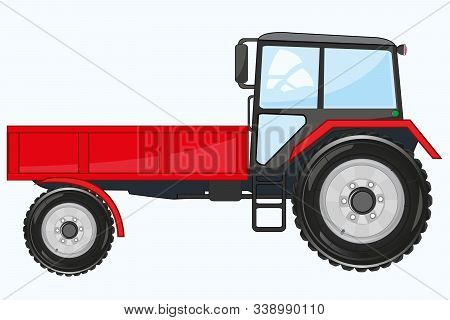 Red Tractor On Wheel With Basket Frontal