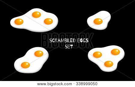 Omelette Set Isolated. Vector Illustration. Breakfast Isometric Design. Scrambled Egg Graphic On Bla