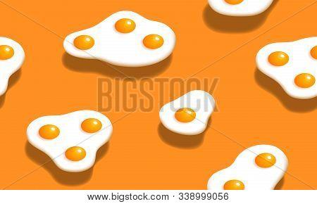 Omelette Seamless Pattern. Vector Illustration. Breakfast Isometric Design. Scrambled Egg Graphic On