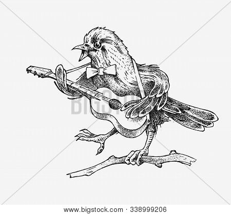 Sparrow Bird Plays The Guitar And Sings In A Vintage Style. Engraved Hand Drawn Retro Sketch For Ban