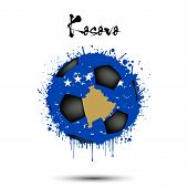 Abstract soccer ball painted in the colors of the Kosovo flag. Flag of Kosovo in the form of a soccer ball made of blots on an isolated background. Grunge style. Vector illustration poster