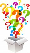 box with question mark icons poster