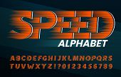 Speed alphabet font. High speed effect letters and numbers. Stock vector typescript for your typography design. poster