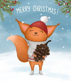 Cheerful Squirrel With A Fir Cone Wishes Merry Christmas. Hand Drawn Illustration