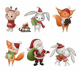Collection Of Hand Drawn Christmas Characters. Hand Drawn Illustration