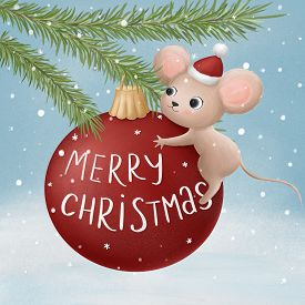 Little Mouse On A Christmas Ball. Hand Drawn Illustration