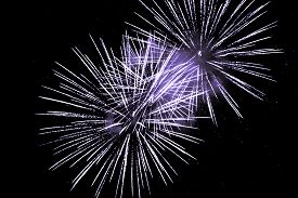 Luxury Fireworks Event Sky Show With Purple Big Bang Stars. Premium Entertainment Magic Star Firewor