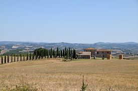 A Typical And Characteristic View Of The Tuscan Hills In Italy