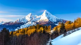 Beautiful View Of Famous Watzmann Mountain Peak On A Cold Sunny Day In Winter