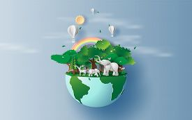 Illustration Of Elephants In Forest,creative Origami Design World Environment And Earth Day Paper Cu