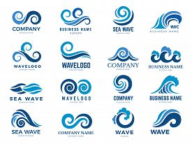 Wave Logo. Graphic Symbols Of Ocean Or Flowing Sea Water Stylized For Business Identity Vector. Illu