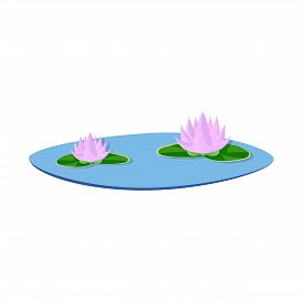Isolated Object Of Flower And Lotus Icon. Set Of Flower And Leaf Stock Symbol For Web.