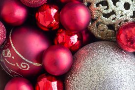 Christmas Glitter Red And Gold Bauble Christmas Ball Heap In Top View Flat Lay With Copy Space, Clos