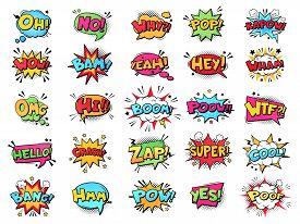 Comic Speech Bubble. Cartoon Comic Book Text Clouds. Comic Pop Art Book Pow, Oops, Wow, Boom Exclama