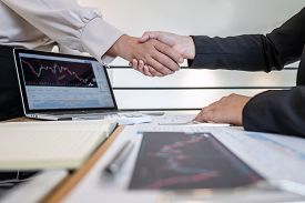 Business Woman Shaking Hands After Conversation, Finishing Up A Collaboration Discussing Of Partner