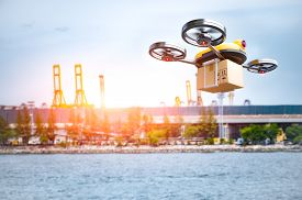 Delivery Drone Delivering Petrochemical Product From Oil Refinery For Shipping Fine And Crude Oil To