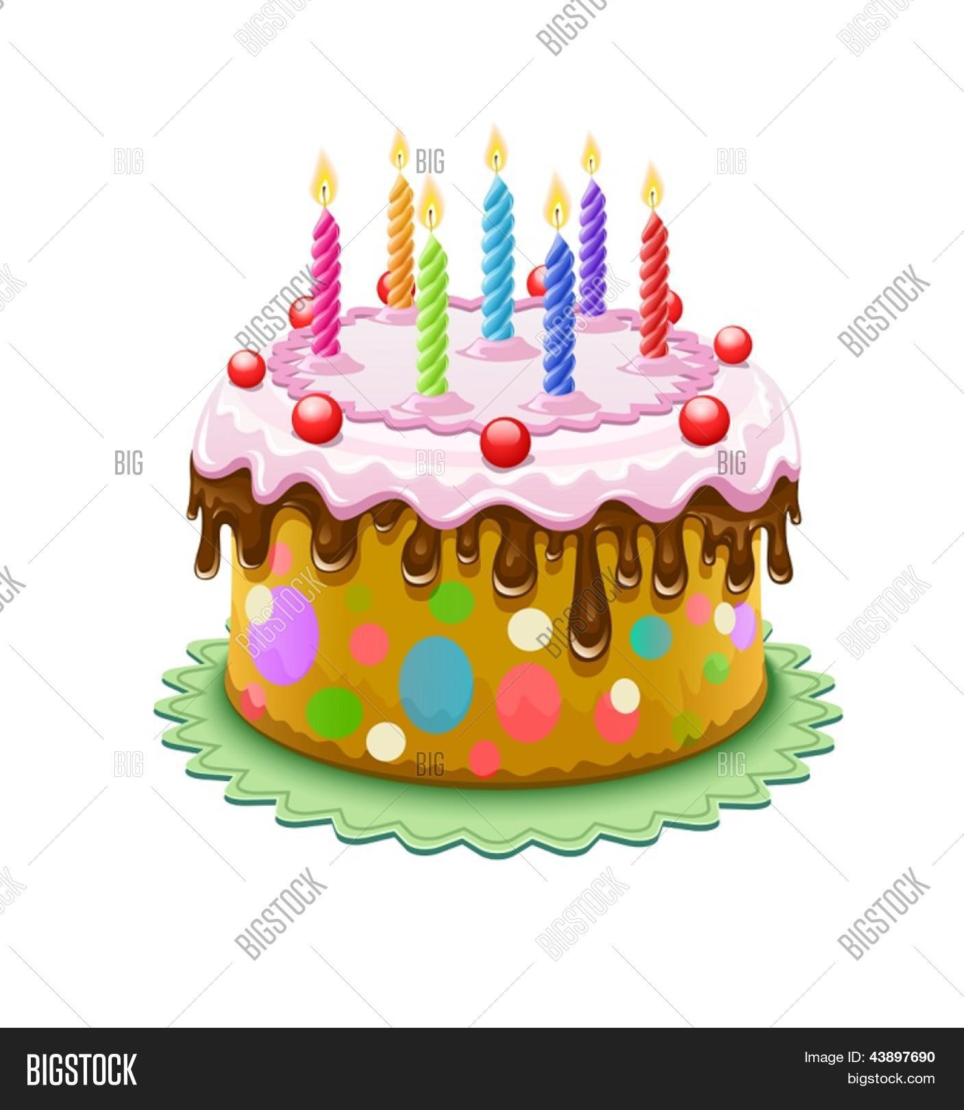 Birthday Cake With Chocolate Creme And Burning Candles Isolated On White Background