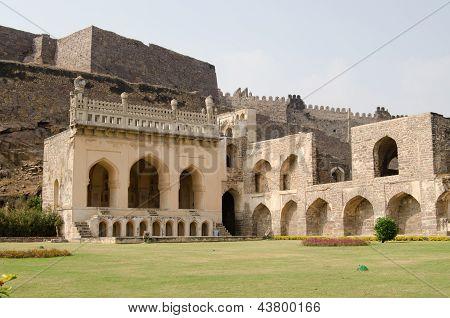 Golkonda fort lawn, India