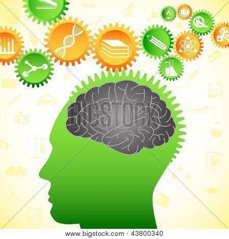 vector illustration of human brain thinking of intelligent idea poster
